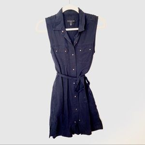 Forever New navy blue button up tie mini dress